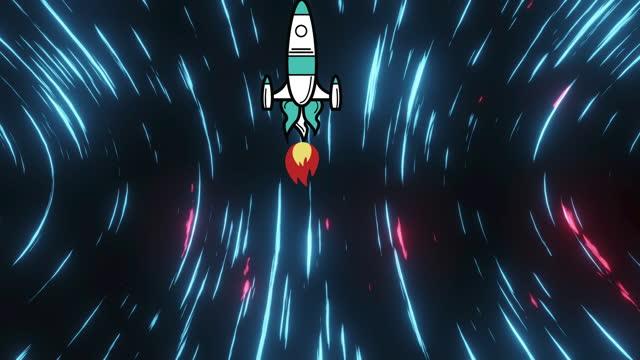 Rocket flying against light trails moving on black background