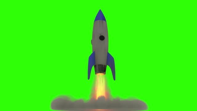raketenstart-animation, 3d-cartoon-animation auf grünem hintergrund - rakete stock-videos und b-roll-filmmaterial