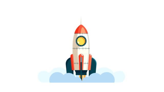 raketenstart in den weltraum in flachen stil. - rakete stock-videos und b-roll-filmmaterial