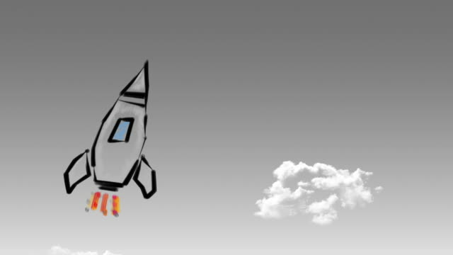 Rocket launch, ship. Concept of business product on a market