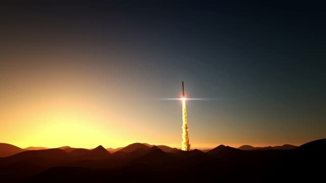 Rocket start on sunset rocket start on sunset 3d animation space stock videos & royalty-free footage