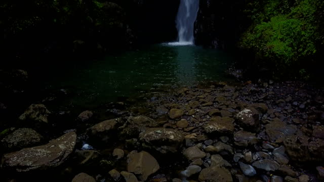 Rocks Surrounding Pool of Water and Waterfall on Maui