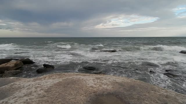 Rocky coast of the Caspian Sea.