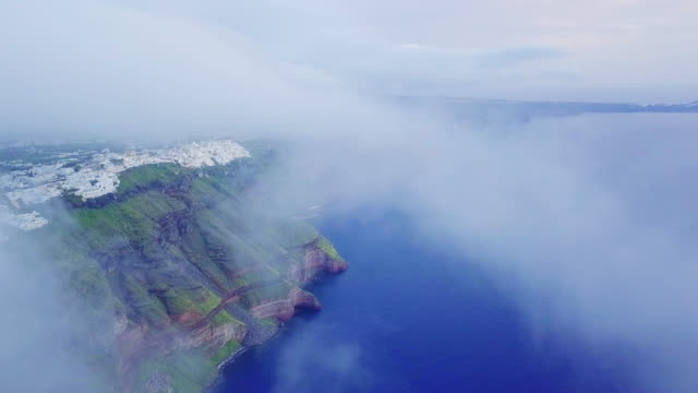 Rocky, coastline of Santorini. Aerial view Rocky, mountainous coastline. Aerial view greek islands stock videos & royalty-free footage