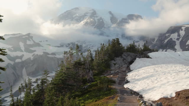 Rocky Hiking Trail by Snow Up Paradise to Mt Rainier Popular family hiking trail and tourism destination in Pacific Northwest high dynamic range imaging stock videos & royalty-free footage