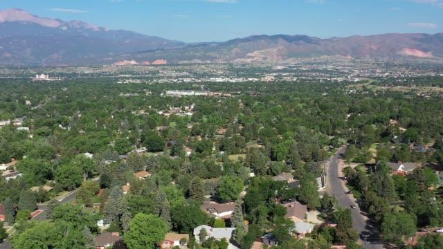 Rocky Mountain views over residential area, Colorado Sprinbgs, Colorado, USA