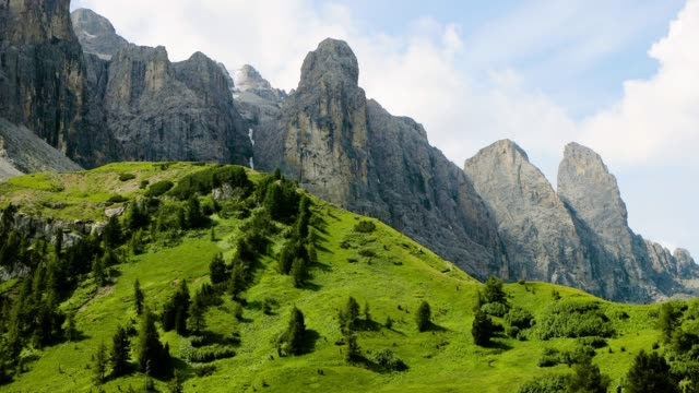 Rocky mountains in Italy. Beautiful landscape in a natural park with people riding a bike in the mountain  4K