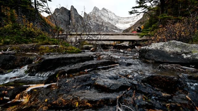 Rocky mountains with water flowing in autumn forest on Lake Agnes Tea House in Banff national park
