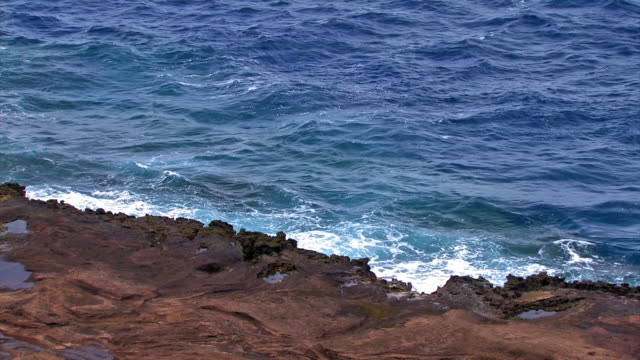Rocky Oahu shore 2 - HD 30F  oceania stock videos & royalty-free footage