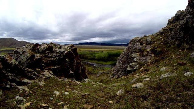 Rocky Shore of a Mountain River in The Midst of The Vast Steppe video