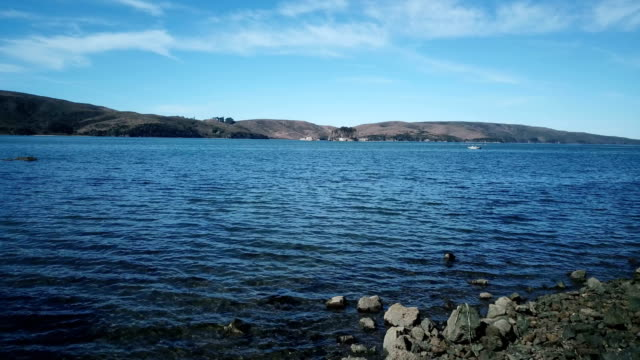 Rocky Shoreline of Blue Lake and Clear Sky video