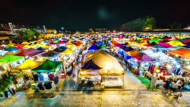 Rod Fai Night market time lapse Rod Fai Night market time lapse thai ethnicity stock videos & royalty-free footage