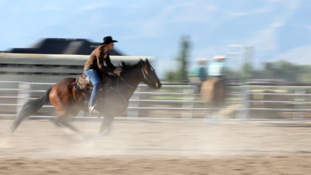 rodeo barrel racing - attività equestre ricreativa video stock e b–roll