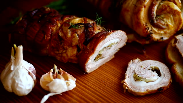 roll of meat with various spices and herbs - antipasto video stock e b–roll