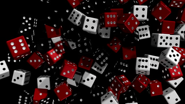 Roll The Dice! Alt. Angle 2 A group of dice drop & scatter onto a reflective floor. monte carlo stock videos & royalty-free footage