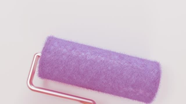 stockvideo's en b-roll-footage met roller te trekken roze kleur op witte hd achtergrond hd 1920x1080 - lood