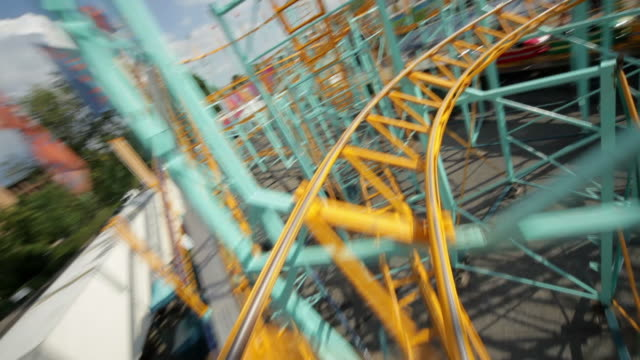 rollercoaster ride (part 3/3) - roller coaster stock videos & royalty-free footage