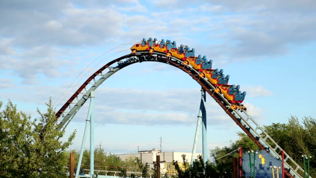 rollercoaster train is moving - roller coaster stock videos & royalty-free footage