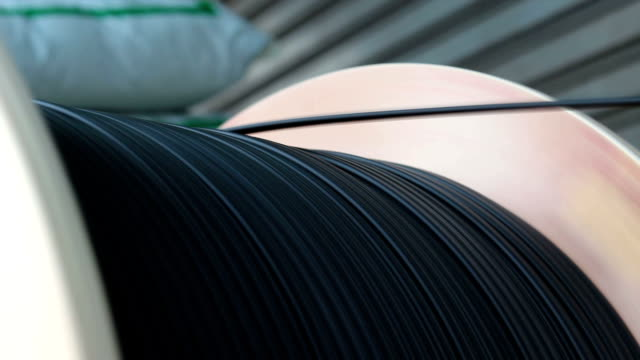 rolling cable wire fiber optic - sottosuolo video stock e b–roll