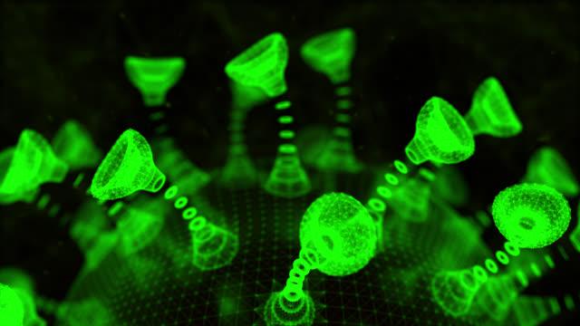 Rolling Coronavirus; Loopng, Green, Covid-19 Animation Plexus, Coronavirus, Virus, Epidemic, Biochemical Weapon, Seamless loop, Copy Space, Title Space biochemistry stock videos & royalty-free footage