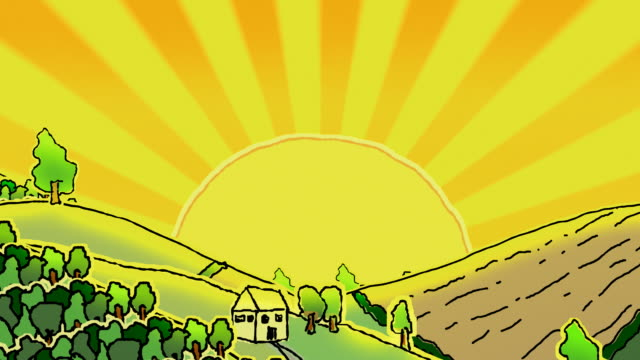 Rolling doodled landscape under a blazing sun,loopable​ video