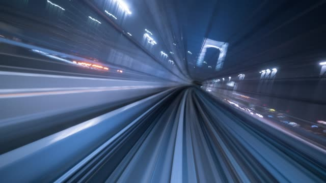 Rolling in Tunnel,Timelapse Train - Vehicle, Tokyo - Japan, Japan, Cityscape, Odaiba - Tokyo tunnel stock videos & royalty-free footage