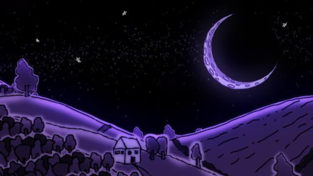 stockvideo's en b-roll-footage met rolling rural doodle landscape under a huge moon - sleeping illustration