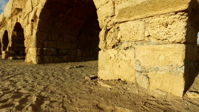 Roman Aqueduct in Israel on Mediterranean Israel, Caesarea - Sea, Ancient Aqueduct aqueduct stock videos & royalty-free footage