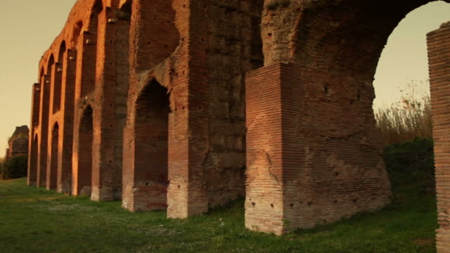 Roman aqueduct Sunset on one of  the aqueducts in the city of Rome aqueduct stock videos & royalty-free footage