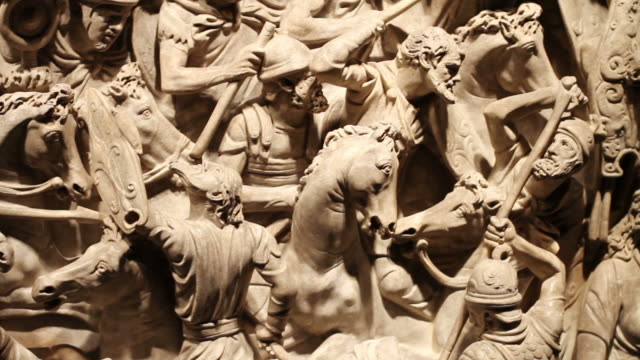 Roman empire battle bas relief video