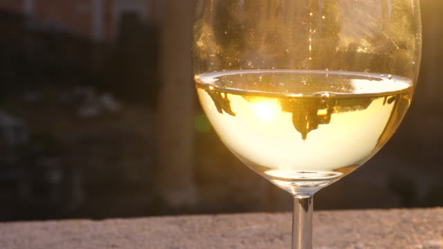 forum romanum bei sonnenaufgang reflexion in glas weißwein. historisches kaiserliches foro romano in rom, italien aus panoramensicht. - weinglas stock-videos und b-roll-filmmaterial