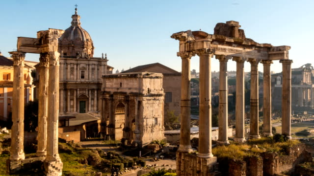 roman forum. vast excavated area of roman temples - italian architecture stock videos & royalty-free footage