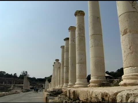 Roman Road with Pillars In Beth Shean old testament stock videos & royalty-free footage