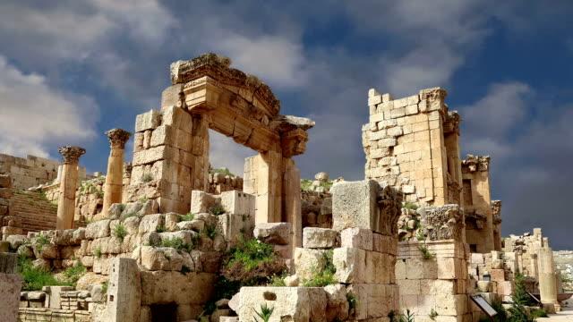 Roman ruins in the Jordanian city of Jerash (Gerasa of Antiquity), capital and largest city of Jerash Governorate, Jordan video