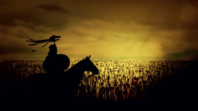 Roman Soldier Seating on His Horse In Front Thousands of Soldiers and Warriors video