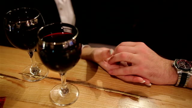 romance at night restaurant for valentine's day-human hands close up - date night stock videos & royalty-free footage