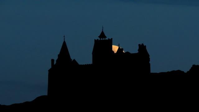 Romania Castle of Bran moonrise video