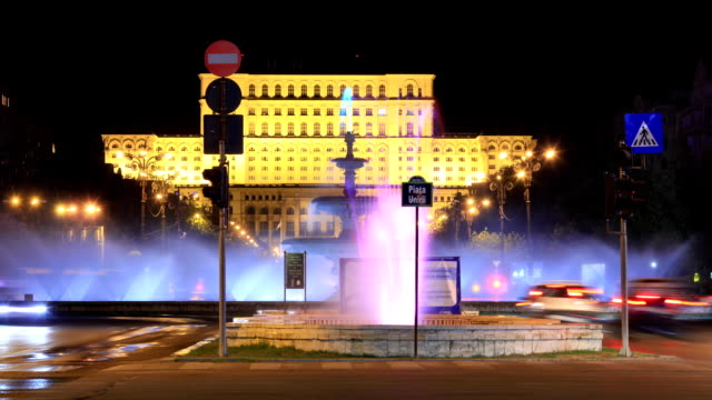Romanian Parliament House In Bucharest Time Lapse video
