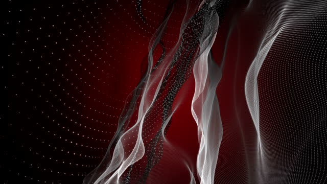 Romantic animation with particle wave object in slow motion, loop HD 1080p video