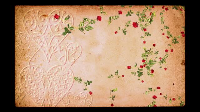 Romantic background loop. Falling roses on grunge embossed paper. video