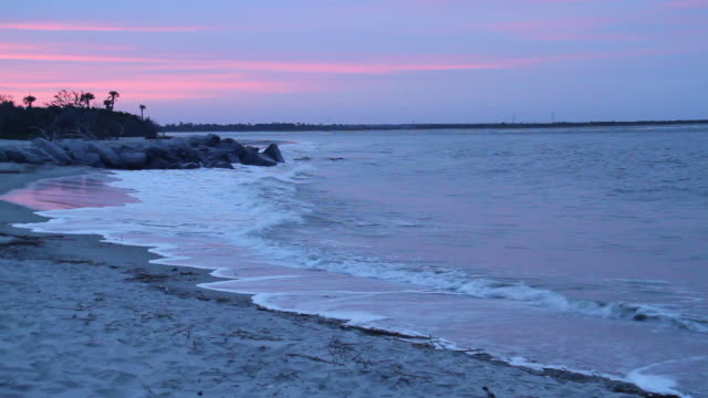 Romantic beach with sunset video