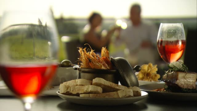 romantic couple alfresco fine dining in winery vineyards - seafood stock videos and b-roll footage