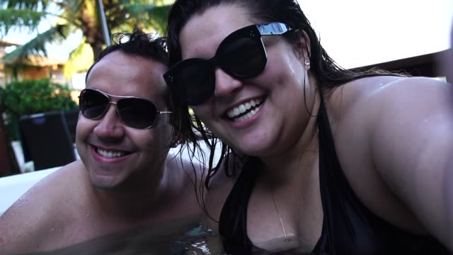Romantic Couple Taking a Selfie at hot tub Self Portrait plus size model stock videos & royalty-free footage
