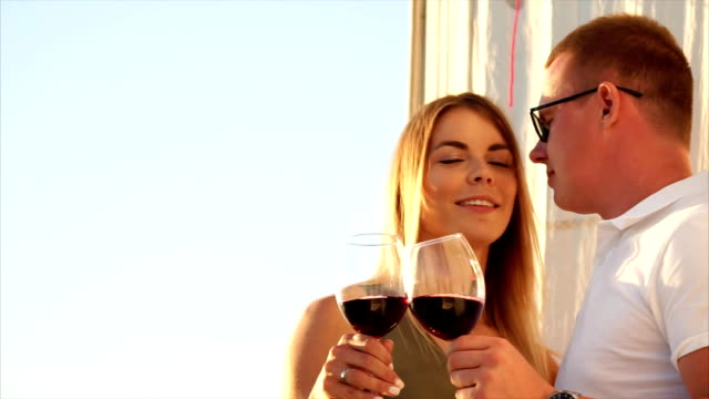 Romantic date with wine and kiss video