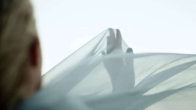 Romantic girl in long dress enjoying the wind. Hiding in transparent textile