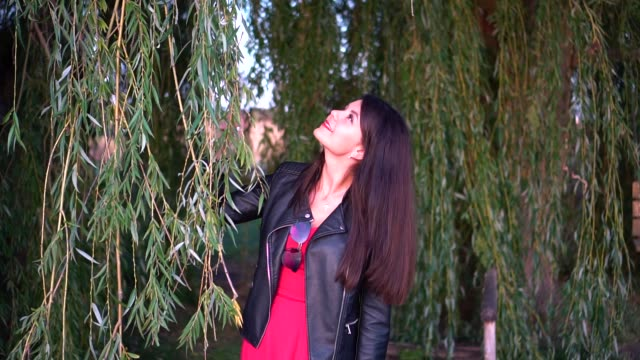 Romantic girl in red dress and black leather jacket poses on willow background and smiles Romantic girl in red dress and black leather jacket poses on willow background and smiles red lipstick stock videos & royalty-free footage