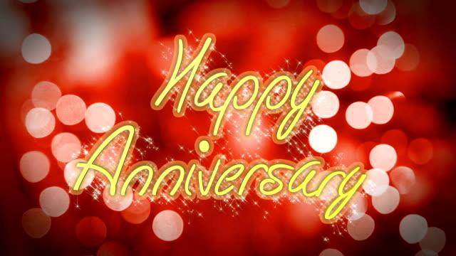 Romantische Happy Anniversary Glückwunschschreiben auf rotem Hintergrund, Feier – Video