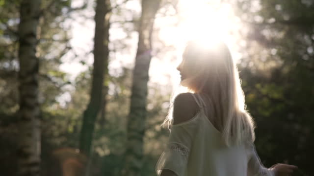 romantic woman in forest video