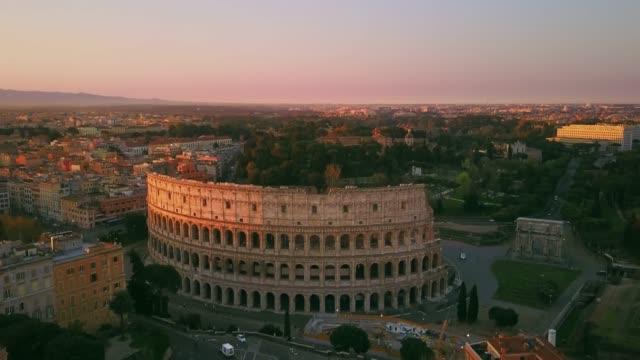 rome colosseum aerial shot orbit