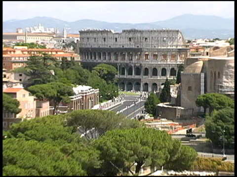 Rome Colosseum / Coliseum Pull Wide to Cityscape video